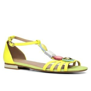 ALDO Neon Yellow Jewel Lilia Metal Heel Sandals